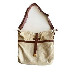 Forever21 beige canvas crossbody adjustable bag